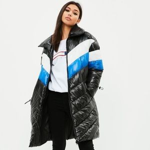Missguided Longline Colour Block Puffer Jacket